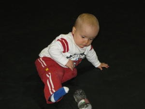 Logan's entertainment - a water bottle!