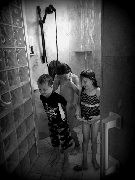 cousin shower time in the ridiculously large shower
